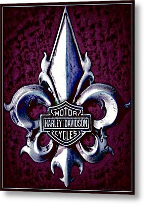 Fleurs De Lys With Harley Davidson Logo Metal Print by Danielle  Parent