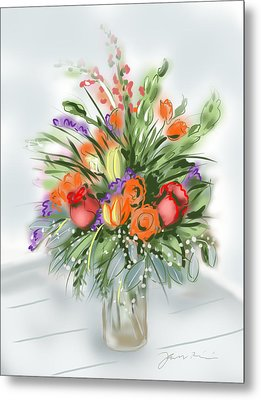 Metal Print featuring the painting Fleurs Pour Moi by Jean Pacheco Ravinski