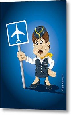 Flight Attendant Cartoon Woman Airport Sign Metal Print by Frank Ramspott