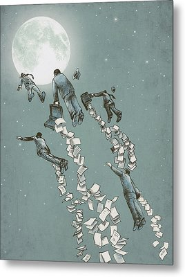 Flight Of The Salary Men Metal Print by Eric Fan