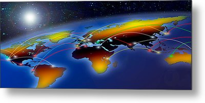 Flight Plan Marked On A Globe Metal Print by Panoramic Images