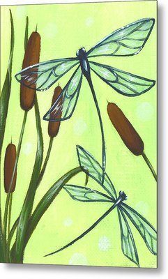 Flight Through The Cat Tails Metal Print by Elaina  Wagner