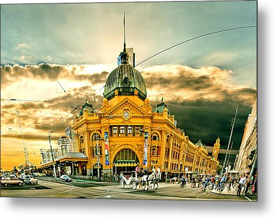 Flinders St Station Metal Print by Az Jackson