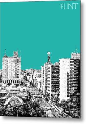 Flint Michigan Skyline - Teal Metal Print