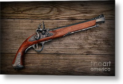 Flintlock Blunderbuss Pistol Metal Print by Paul Ward