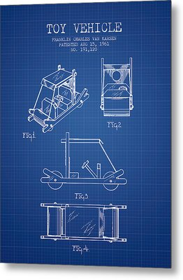 Flintstones Toy Vehicle Patent From 1961 - Blueprint Metal Print by Aged Pixel