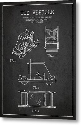 Flintstones Toy Vehicle Patent From 1961 - Charcoal Metal Print by Aged Pixel
