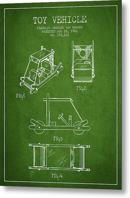 Flintstones Toy Vehicle Patent From 1961 - Green Metal Print by Aged Pixel