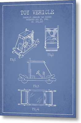 Flintstones Toy Vehicle Patent From 1961 - Light Blue Metal Print by Aged Pixel
