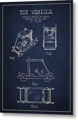 Flintstones Toy Vehicle Patent From 1961 - Navy Blue Metal Print by Aged Pixel