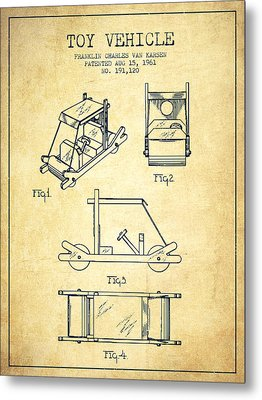 Flintstones Toy Vehicle Patent From 1961 - Vintage Metal Print by Aged Pixel
