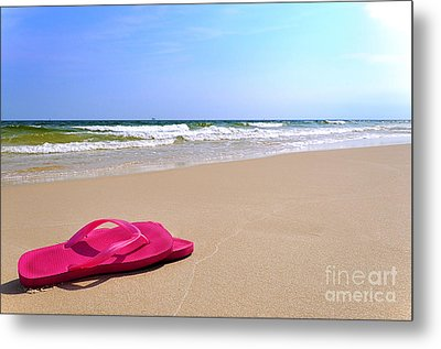 Flip Flops On Beach Metal Print by Danny Hooks