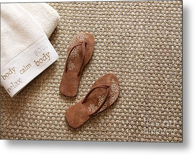 Flip Flops With Towels On Seagrass Rug Metal Print by Sandra Cunningham