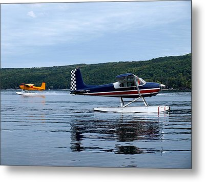 Float Planes On Keuka Metal Print by Joshua House