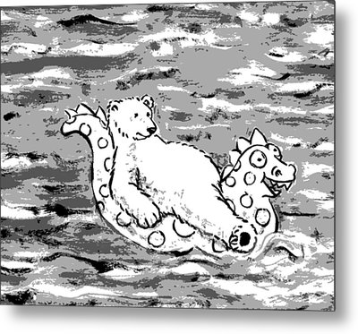 Floating Bear Grisaille Metal Print