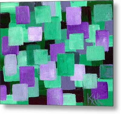 Floating Green And Purple Squares Metal Print by Art by Kar