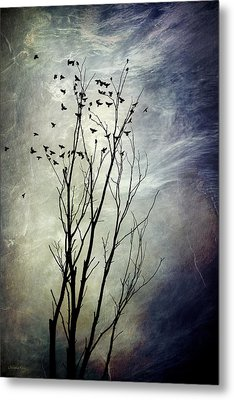 Flock Of Birds In Silhouette Metal Print by Christina Rollo