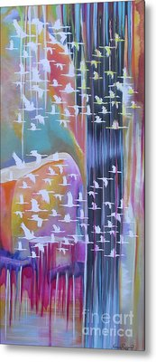 Flock Of Cranes Metal Print