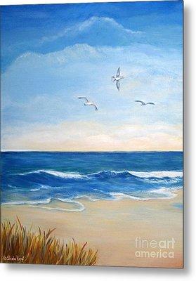 Flock Of Three - Three Birds On The Beach Metal Print
