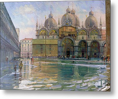 Flood Tide, Venice, 1992 Oil On Canvas Metal Print