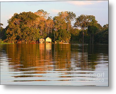 Metal Print featuring the photograph Flooded Amazon With Houses by Nareeta Martin