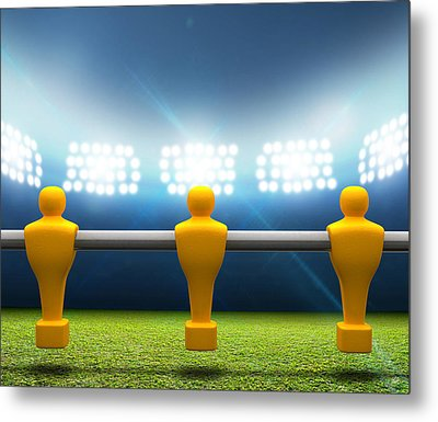 Floodlit Stadium With Foosball Players Metal Print