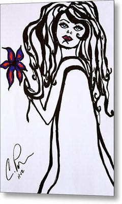 Metal Print featuring the drawing Flor De Amber by Chrissy  Pena