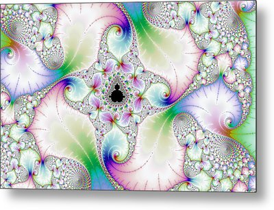 Floral Abstract Art With Bright Pastel Colors Metal Print