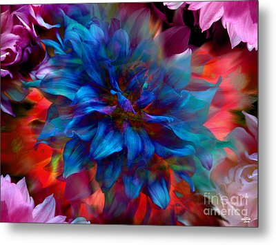Floral Abstract Color Explosion Metal Print by Stuart Turnbull