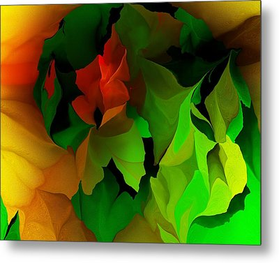 Metal Print featuring the digital art Floral Abstraction 090814 by David Lane
