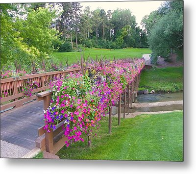 Floral Cartpath Metal Print by Eve Spring