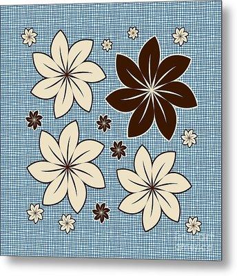 Floral Design On Blue Metal Print by Gaspar Avila