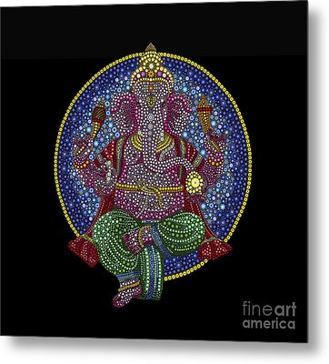 Floral Ganesha Metal Print