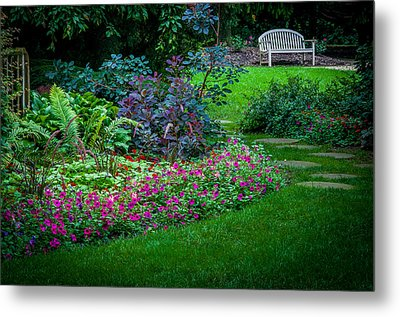 Floral Garden Walk And Park Bench Metal Print