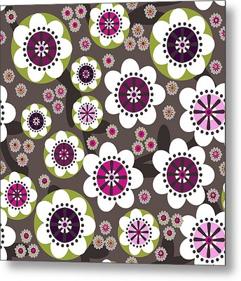 Metal Print featuring the digital art Floral Grunge by Lisa Noneman