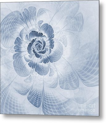 Floral Impression Cyanotype Metal Print by John Edwards