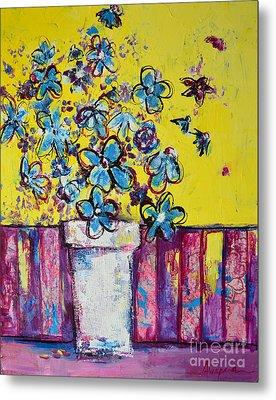 Floral Still Life Blue Hues Metal Print by Patricia Awapara