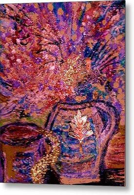 Floral With Gold Leaf On Vase Metal Print by Anne-Elizabeth Whiteway