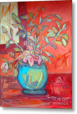 Floral With Orange Background Metal Print by Marlene Robbins