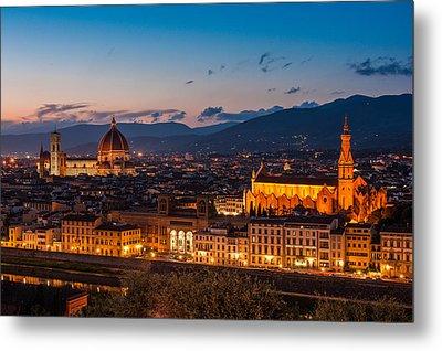 Florence City At Night Metal Print