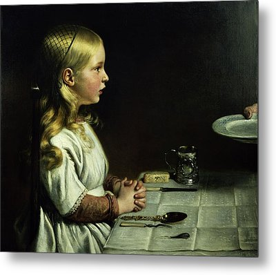 Florence Cope Saying Grace At Dinnertime Metal Print by Charles West Cope