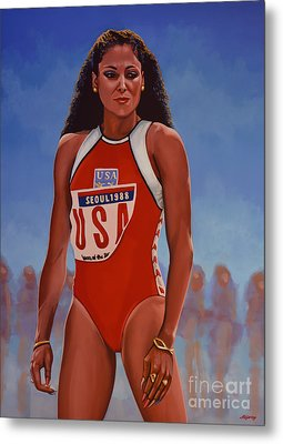 Florence Griffith - Joyner Metal Print by Paul Meijering