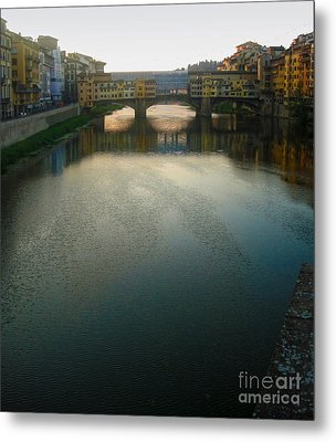 Florence Italy - Ponte Vecchio - Sun Rise Metal Print by Gregory Dyer