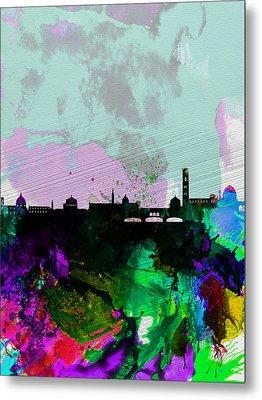 Florence Watercolor Skyline Metal Print by Naxart Studio