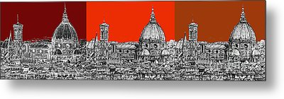 Florence's Duomo In Oranges Metal Print by Adendorff Design