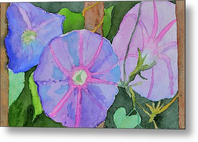Metal Print featuring the painting Florence's Morning Glories by Beverley Harper Tinsley