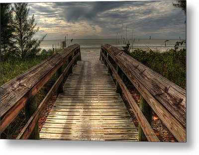 Metal Print featuring the pyrography Florida Beach Entrance With A Beautiful Sky by Julis Simo