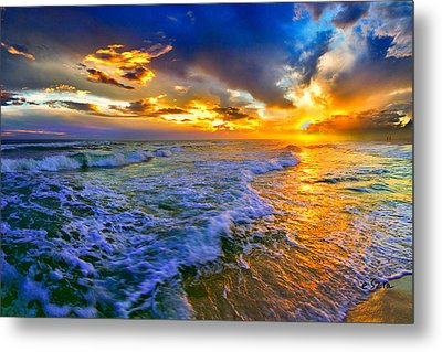 Florida Beach-golden Suntrail Sunset-rolling Sea Waves Metal Print