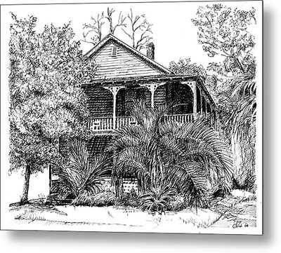 Metal Print featuring the drawing Florida House by Arthur Fix