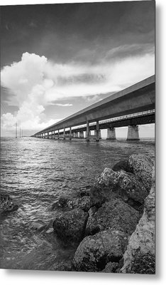 Florida Keys Seven Mile Bridge South Bw Vertical Metal Print